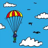 Parachute Jump — Stock Vector