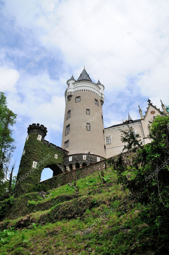 View to the tower of Zleby Castle in Czech Republic.  Stock Photo #10580976
