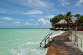 Beatiful bungalo and bridge in caribian sea — Stock Photo