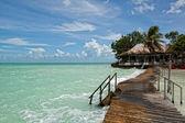 Beatiful bungalo and bridge in caribian sea — Stock Photo