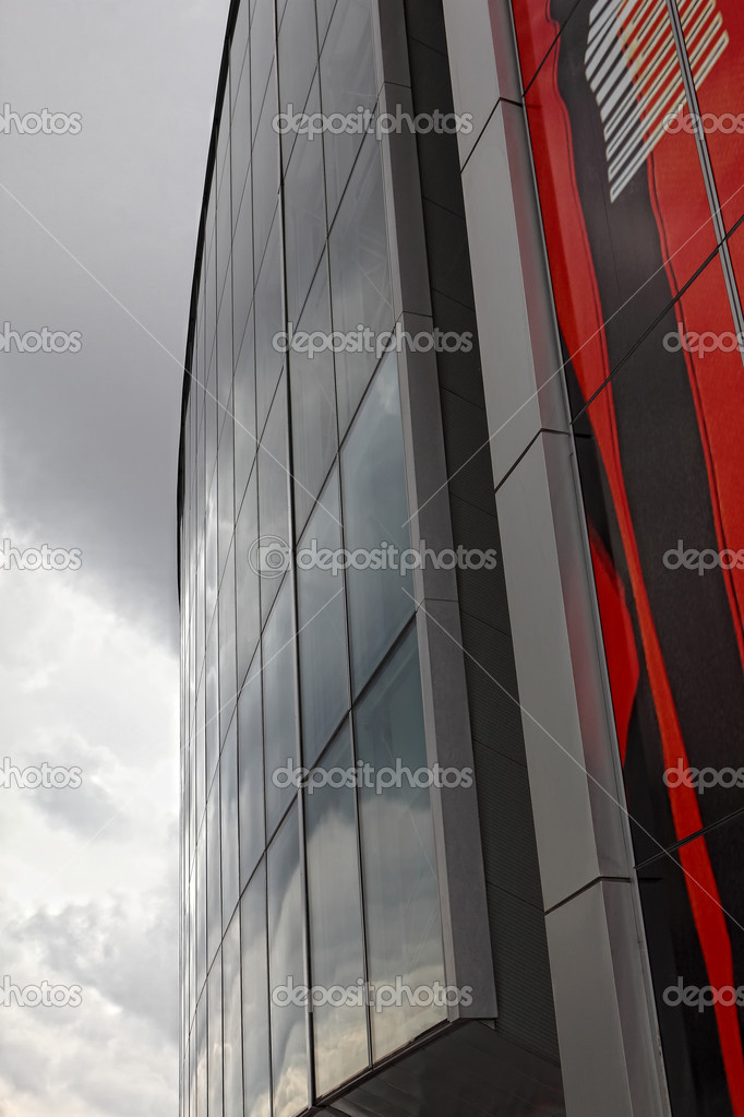 Donbass Arena stadium in Donetsk city with clouds — Stock Photo #7980246