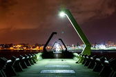 Very long watercut in the night city Coatzacoalcos 2 — Stock Photo