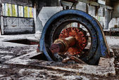 Very big electromotor wheel for air system — Stock Photo