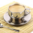 Stock Photo: Metal Cup of espresso coffee with spoon