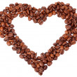 Heart from brown coffee beans — Stock Photo