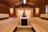 Interior of a russian sauna — Stock Photo