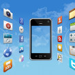 smartphone with cloud of application icons — Stock Photo #9191684
