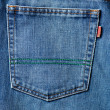 Blue jeans pocket in close up — Stock Photo