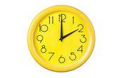 żółty zegar na białym tle — Zdjęcie stockowe