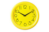Yellow clock on a white background,place for your own text, pict — 图库照片
