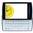 Classic Mobile phone with a clock on a white background  - origi — Zdjęcie stockowe