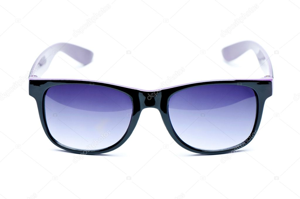 Old Black nerd Glasses with white background with clipping path, place for text, picture — Stock Photo #10518634
