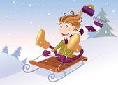 Winter sledging — Stock Vector