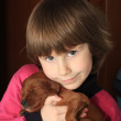 Kid and puppy — Stock Photo