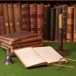 Antique Books and Candlestick - Stock Photo
