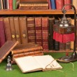 Antique Books, Lamp and Glasses — Stock Photo