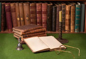 Antique Books and Candlestick — Photo