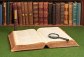 Antique Books, Candlestick and Magnifier — Stock Photo