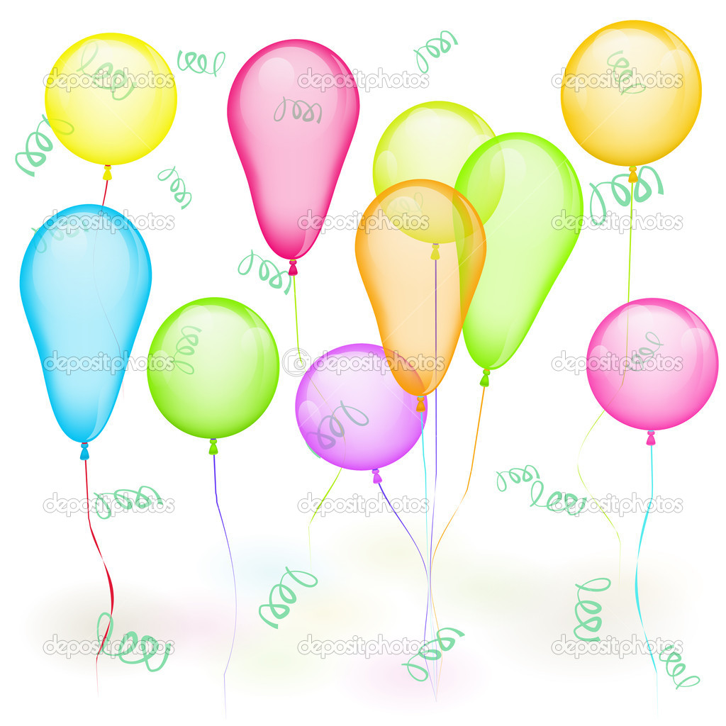 Set of vector colored balloons on white. Yellow, red, green, blue — Stock Vector #10615746