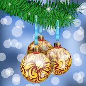 Golden Christmas Balls — Vettoriale Stock