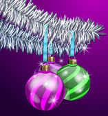 Purple Christmas Balls — Vector de stock
