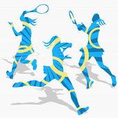 Women's Tennis Sport Silhouettes — Stock Vector