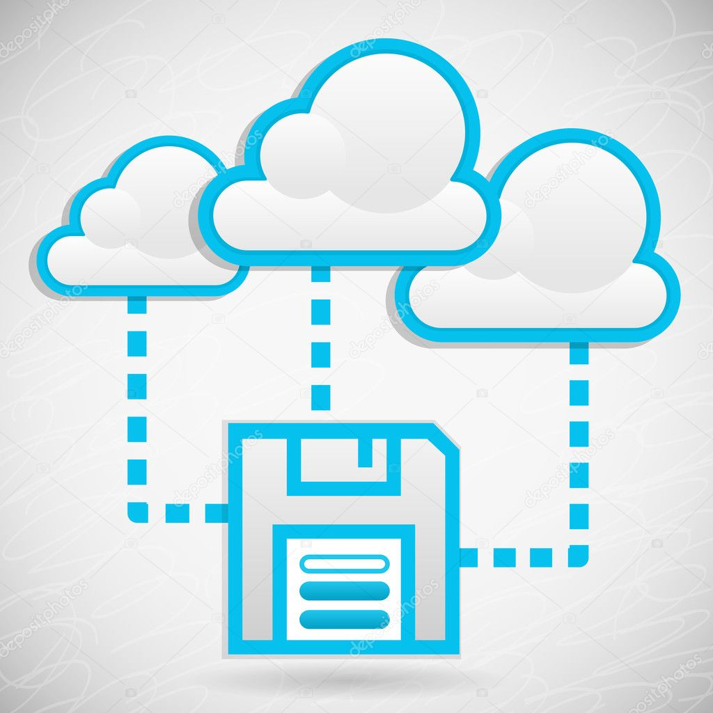 Illustration of remote data storage in cloud structures — Stock Vector #9675852