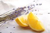 Fresh lemon with lavender — Stock Photo