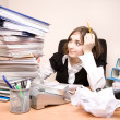Secretary with a lot of documents - Stock Photo