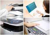 Office collage of four images — Stock Photo