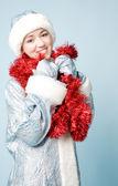 Beautiful girl in new year costume — Stock Photo