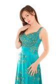 Woman in beautiful blue dress — Stock Photo