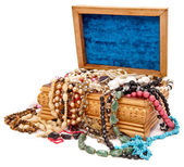 Wooden box with jewels — Stockfoto