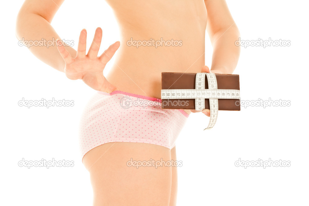 Woman's body with measuring tape and chocolate — Stock Photo #8280777