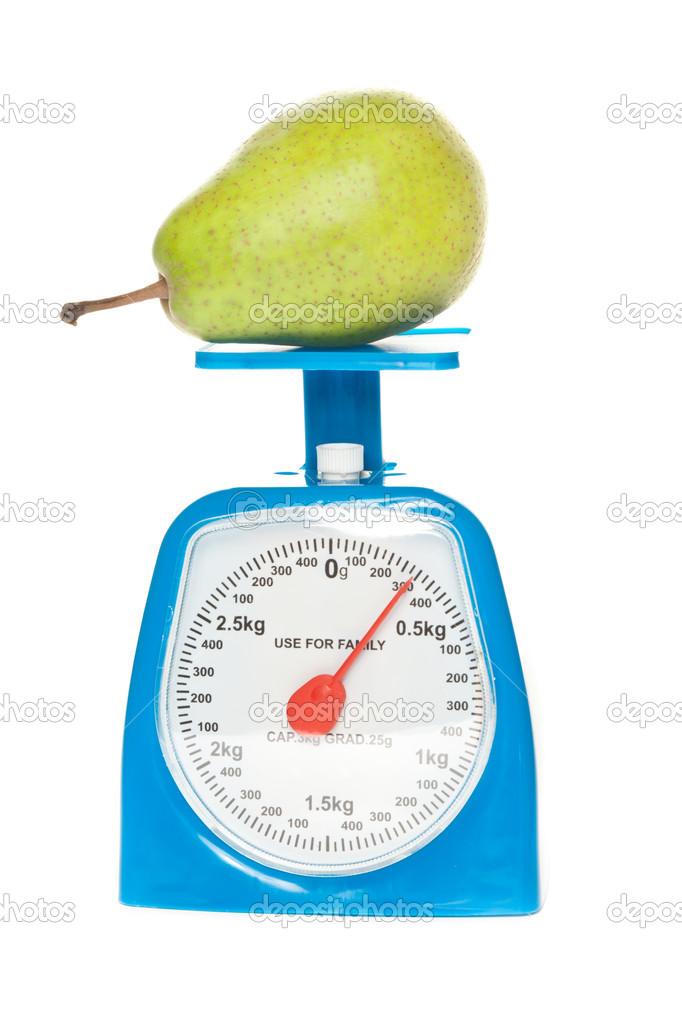 Scale and green pear isolated — Stock Photo #8280824