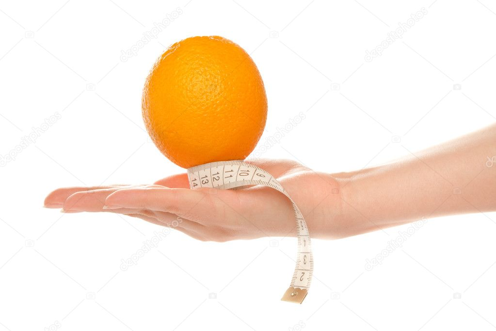 Woman's hand holding orange with measuring tape — Stock Photo #8280854