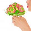 Woman's lips with sweet flower isolated on white — Stock Photo