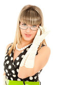 Beautiful woman in dress with glasses isolated — Stock Photo