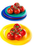 A plates of red tomatoes isolated on white — Stock Photo