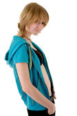 Girl in blue jacket — Stock Photo