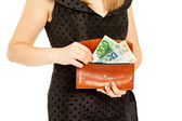Woman's hands with purse and money — Stock fotografie