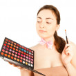 Beautiful make up artist with pallette — Foto de Stock