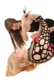 Dos chicas peleando — Foto de Stock