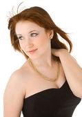 Vacker kvinna med halsband isolerad på vit — Stockfoto