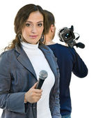 TV reporter and teleoperator — Stock Photo