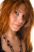 Red haired girl with messy hair — Stock Photo