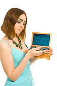 Woman with box of jewel in her hands — Stock Photo