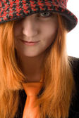 Red haired girl in hat — Stock Photo