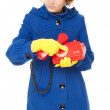 Girl with old red telephone — Stock Photo