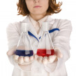 Scientist with two flasks — Stock Photo